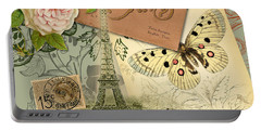 Vintage Eiffel Tower Paris France Collage Portable Battery Charger