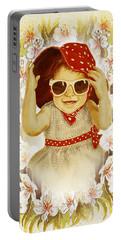 Vintage Fashion Girl Portable Battery Charger by Irina Sztukowski