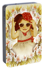 Portable Battery Charger featuring the painting Vintage Fashion Girl by Irina Sztukowski