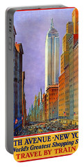 Vintage Fifth Avenue New York Travel Poster Portable Battery Charger