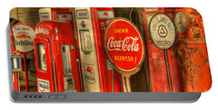 Vintage Gasoline Pumps With Coca Cola Sign Portable Battery Charger
