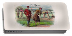 Portable Battery Charger featuring the digital art Vintage Golfers by Maciek Froncisz