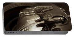Portable Battery Charger featuring the photograph Vintage Hood Ornament - Sepia Art Decoprint by Jane Eleanor Nicholas