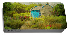 Vintage Inspired Garden Shed With Blue Door Portable Battery Charger