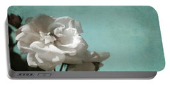 Portable Battery Charger featuring the photograph Vintage Inspired White Roses On Aqua Blue Green - by Brooke T Ryan