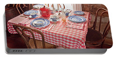 Vintage Kitchen Table Art Prints Portable Battery Charger