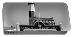 Vintage Looking Montauk Lighthouse Portable Battery Charger by John Telfer