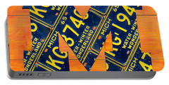 Vintage Michigan License Plate Art Portable Battery Charger