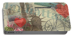 Vintage New York City Collage Portable Battery Charger