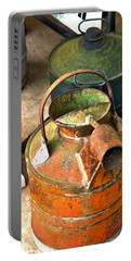 Portable Battery Charger featuring the photograph Vintage Orange And Green Galvanized Containers by Lesa Fine