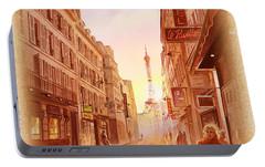 Portable Battery Charger featuring the painting Vintage Paris Street Eiffel Tower View by Irina Sztukowski