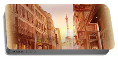 Vintage Paris Street Eiffel Tower View Portable Battery Charger by Irina Sztukowski