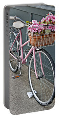Vintage Pink Bicycle With Pink Flowers Art Prints Portable Battery Charger