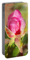 Portable Battery Charger featuring the photograph Vintage Pink Rose Bud by Judy Palkimas