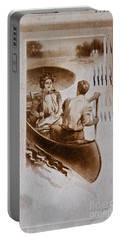 Vintage Post Card Of Couple In Boat Art Prints Portable Battery Charger