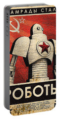 Vintage Russian Robot Poster Portable Battery Charger by R Muirhead Art
