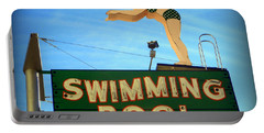 Vintage Swimming Lady Hotel Sign Portable Battery Charger