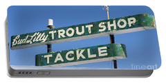 Vintage Trout Shop Sign West Yellowstone Portable Battery Charger