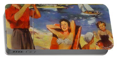 Vintage Vacation Poster Portable Battery Charger