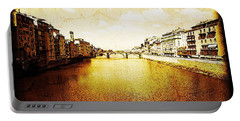 Vintage View Of River Arno Portable Battery Charger