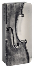 Vintage Violin Portrait In Black And White Portable Battery Charger