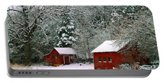 Portable Battery Charger featuring the photograph Vintage Winter Barn  by Peggy Franz