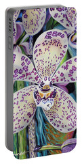 Violet Dotted Orchid Portable Battery Charger by Jane Girardot