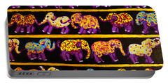 Portable Battery Charger featuring the painting Violet Elephants by Cassandra Buckley
