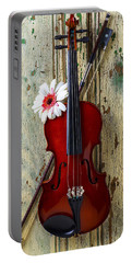 Violin On Old Door Portable Battery Charger