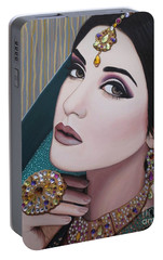 Portable Battery Charger featuring the painting Viridian Indian Beauty by Malinda Prudhomme
