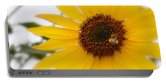 Portable Battery Charger featuring the photograph Vivid Sunflower With Bee Fine Art Nature Photography  by Jerry Cowart
