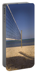 Vollyball Net On The Beach Portable Battery Charger