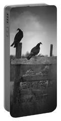Portable Battery Charger featuring the photograph Vultures On Fence by Bradley R Youngberg