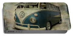 Vw Bus On Display Portable Battery Charger by Athena Mckinzie