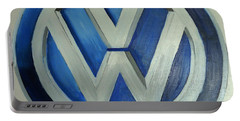 Vw Logo Blue Portable Battery Charger