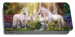 Waaterfall Glade Unicorns Portable Battery Charger by Jan Patrik Krasny