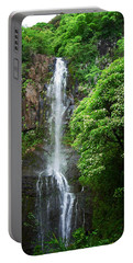 Portable Battery Charger featuring the photograph Waikani Falls At Wailua Maui Hawaii by Connie Fox