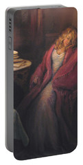 Portable Battery Charger featuring the painting Waiting by Donna Tucker