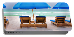 Panama City Beach Digital Painting Portable Battery Charger by Vizual Studio