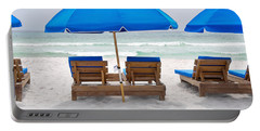 Panama City Beach Florida Empty Chairs Portable Battery Charger by Vizual Studio
