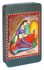Portable Battery Charger featuring the painting Waiting  by Harsh Malik