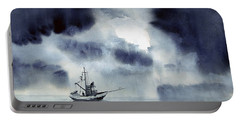 Portable Battery Charger featuring the painting Waiting Out The Squall by Sam Sidders