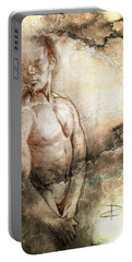 Portable Battery Charger featuring the drawing Waiting With Mood Texture by Paul Davenport