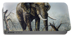 Portable Battery Charger featuring the painting Walk About by Anthony Mwangi