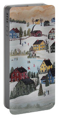 Portable Battery Charger featuring the painting Waltzing Snow by Virginia Coyle