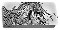 War Horse - Zentangle Portable Battery Charger by Jani Freimann