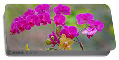 Warbler Posing In Orchids Portable Battery Charger by Luana K Perez