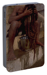 Portable Battery Charger featuring the photograph Varanasi Hair Wash by Travel Pics