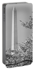 Washington Monument Amidst The Cherry Blossoms Portable Battery Charger