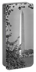 Washington Monument And Cherry Blossoms In April Portable Battery Charger